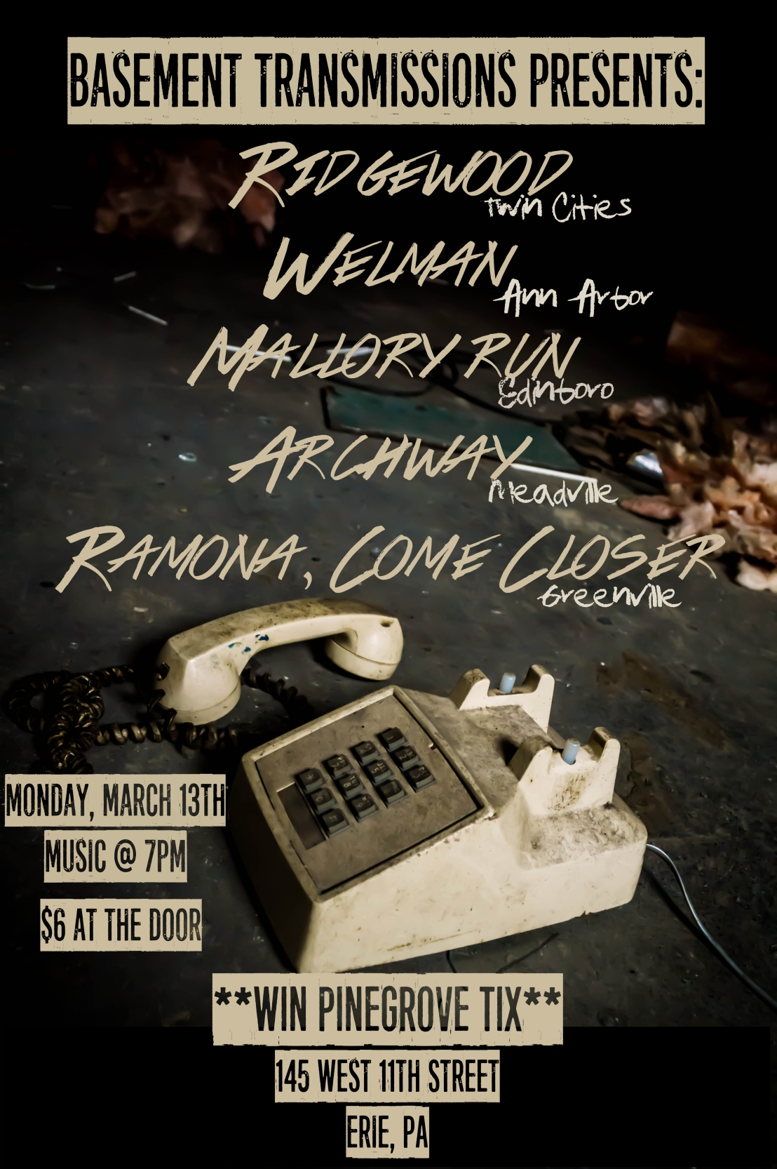 Coming up on March 13th 2017: Ridgewood, Welman, Mallory Run, Archway, and Ramona, Come Closer (and a chance to win tickets to a sold-out Pinegrove show!)